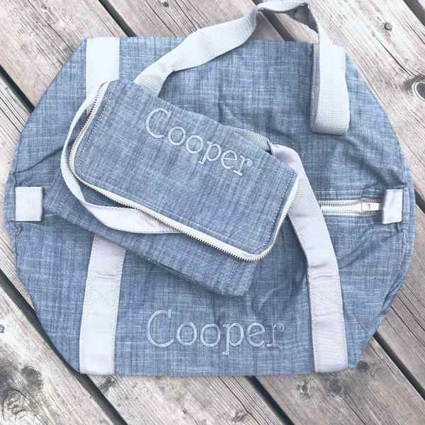 Grey Chambray Personalized Bags in Charcoal Thread