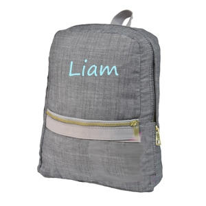 Grey Chambray Toddler Backpack in Turquoise