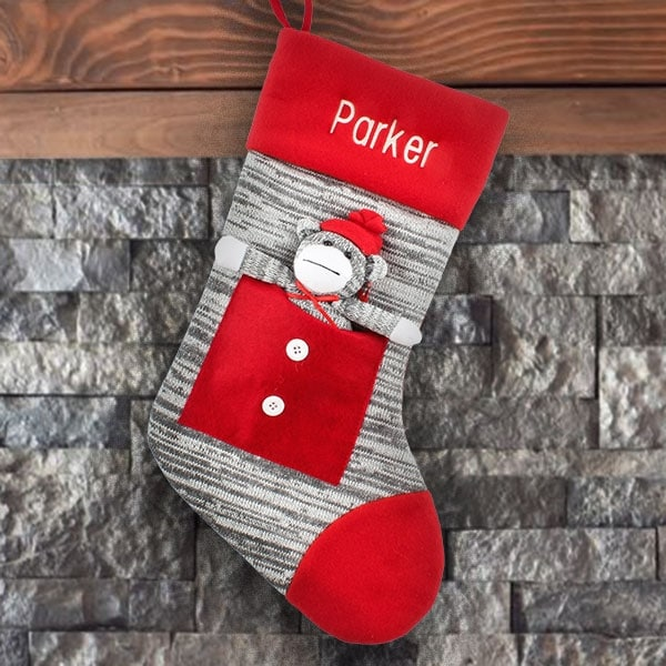 Personalized Stocking - Grey Sock Monkey