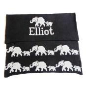Hand Knit Personalized Blanket - Elephant
