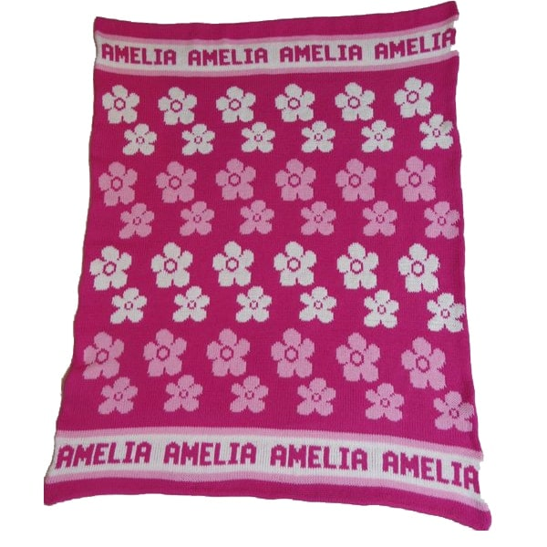 Hand Knit Personalized Blanket - Flowers