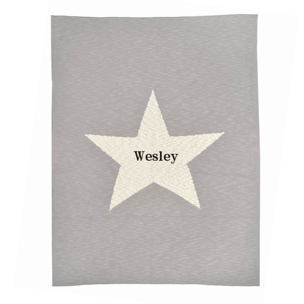 grey chunky star personalized blanket