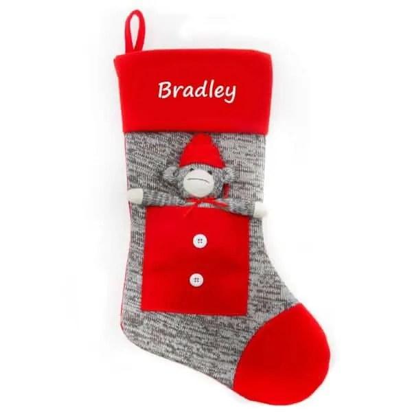 Personalized Christmas Stocking - Grey Sock Monkey