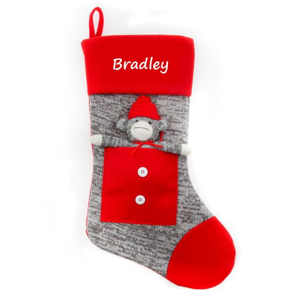 Personalized Christmas Stocking - Grey Sock Monkey