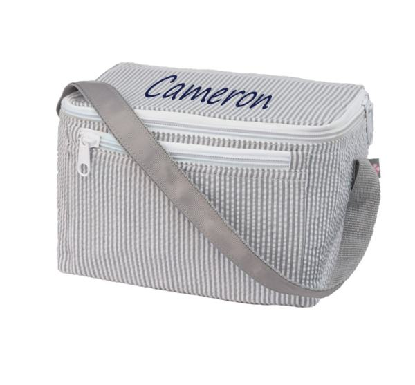 Personalized Lunch Box - Grey Seersucker