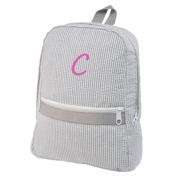 Personalized Kids Backpack - Grey Seersucker