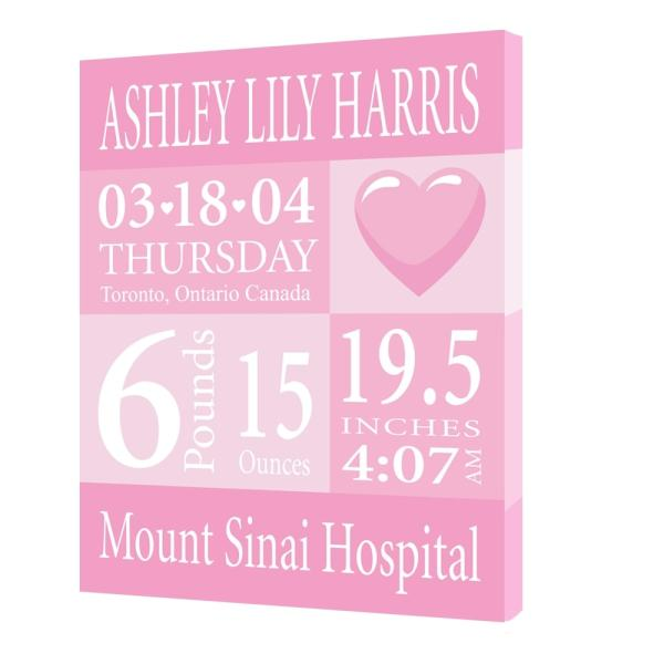 Personalized Baby Announcement - Heart