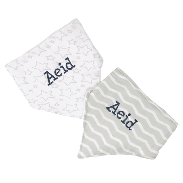 Personalized Baby Bibs - Grey Muslin