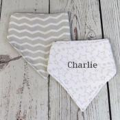 Personalized Baby Bib - Grey
