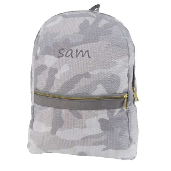 Toddler Personalized Backpack - Grey Camo (in charcoal)