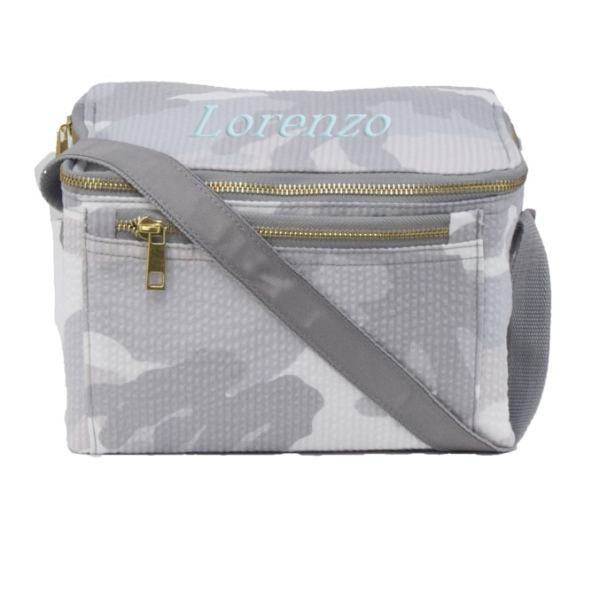 Personalized Lunch Box - Grey Camo (in baby blue)