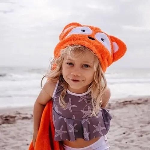 Personalized Hooded Kids Towel - Fox