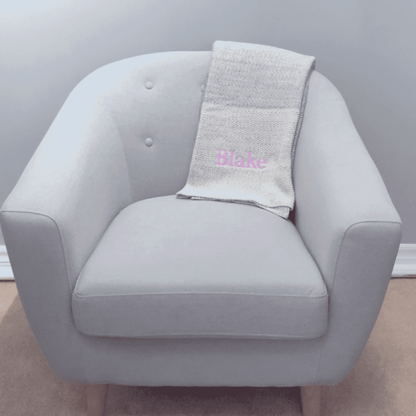 Grey Ombre Blanket personalized in Baby Pink