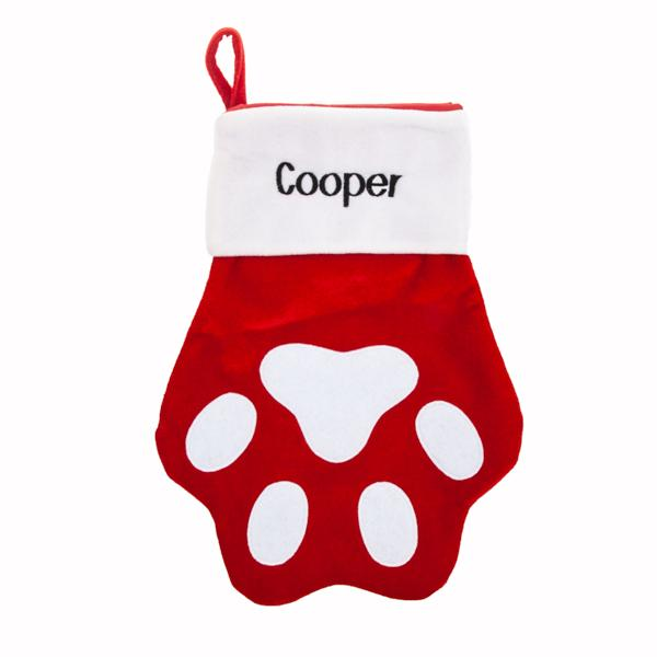 Personalized Pet Christmas Stocking - Red Paw Stocking