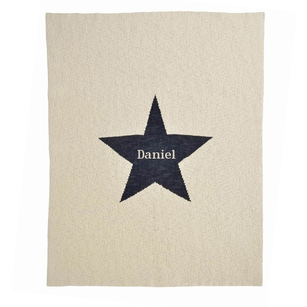 Personalized Baby Blanket - Beige and Navy Star