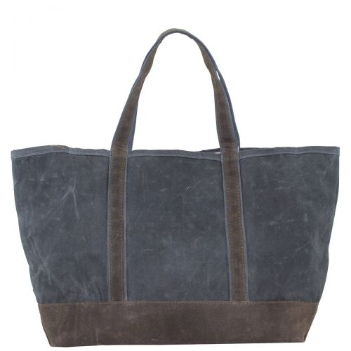 Waxed Canvas Large Tote -Slate with Olive Trim