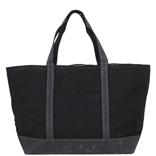 Waxed Canvas Large Tote - Black with Slate Trim