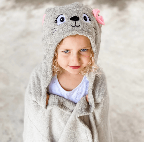Personalized Hooded Towel for Kids - Cat