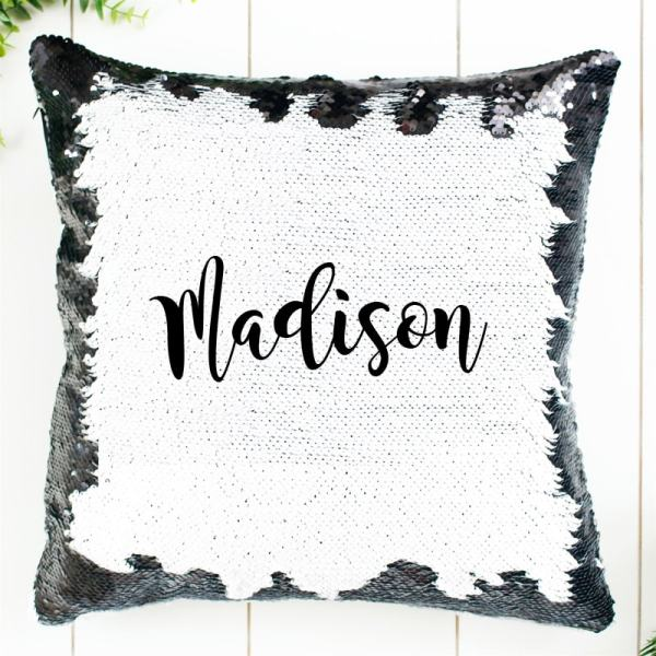 Personalized Sequin Pillow in Black