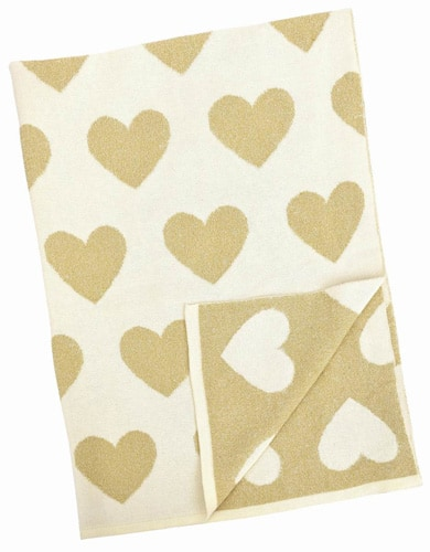 Natural Cotton Blanket - Beige and Gold Hearts