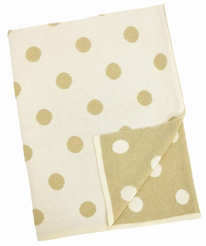 Natural Cotton Blanket - Beige and Gold Polka Dot