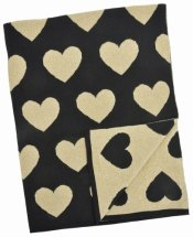 Natural Cotton Blanket - Black and Gold Hearts