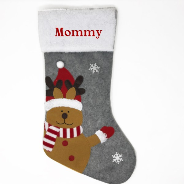 Personalized Christmas Stocking - Grey Reindeer