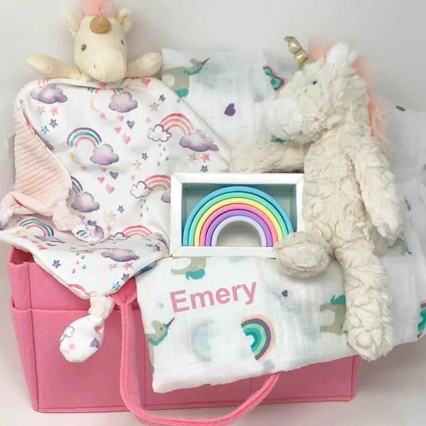 Personalized Baby Gift Set - Rainbows and Unicorns