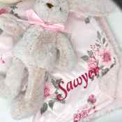 Personalized Baby Blanket - Floral Sherpa