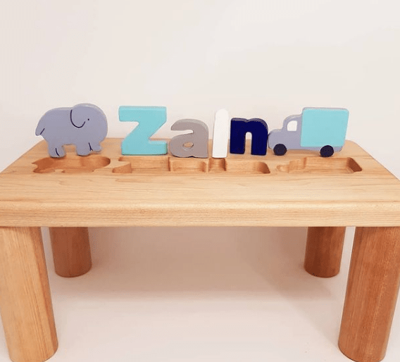 Personalized Wooden Name Puzzle Bench - Little Boy Blues