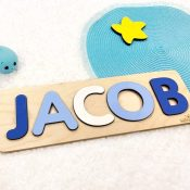 Wooden Name Puzzle - Blues
