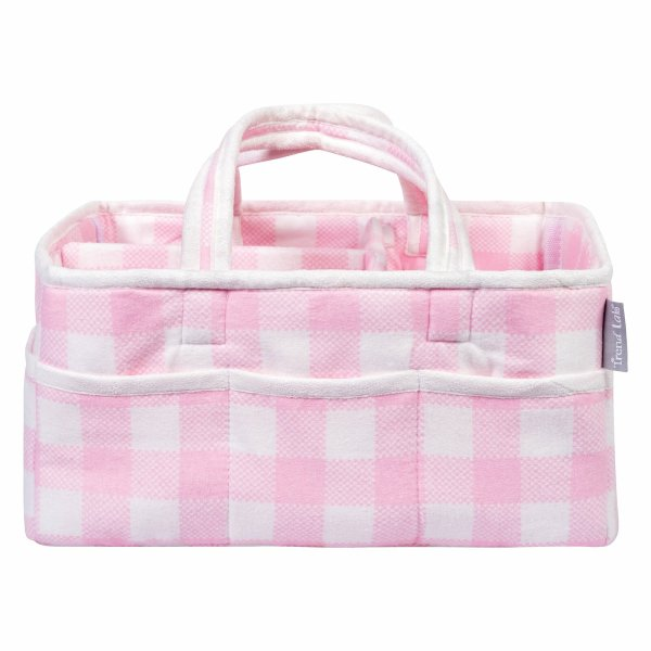 Diaper Caddy - Buffalo Check in Pink and White