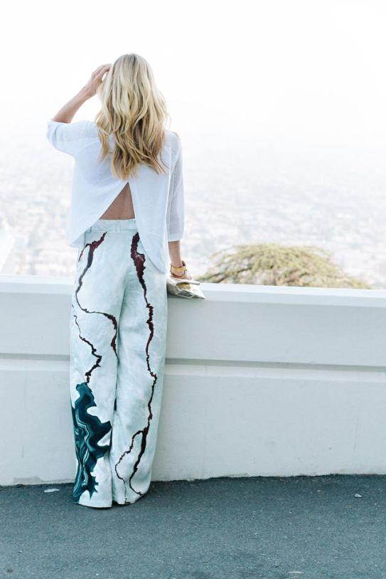 Geode print pants :: split back sweater :: smitten studio