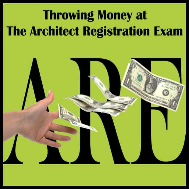 Hand throwing dollars at the architect exam