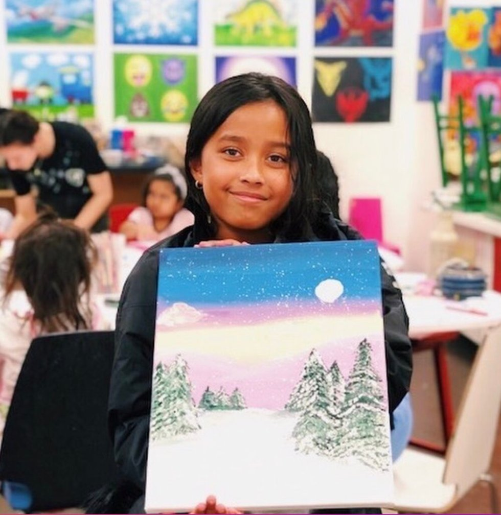 student with canvas