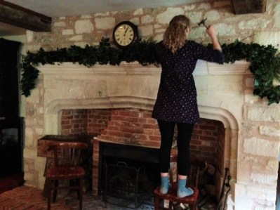 Preparing the fireplace