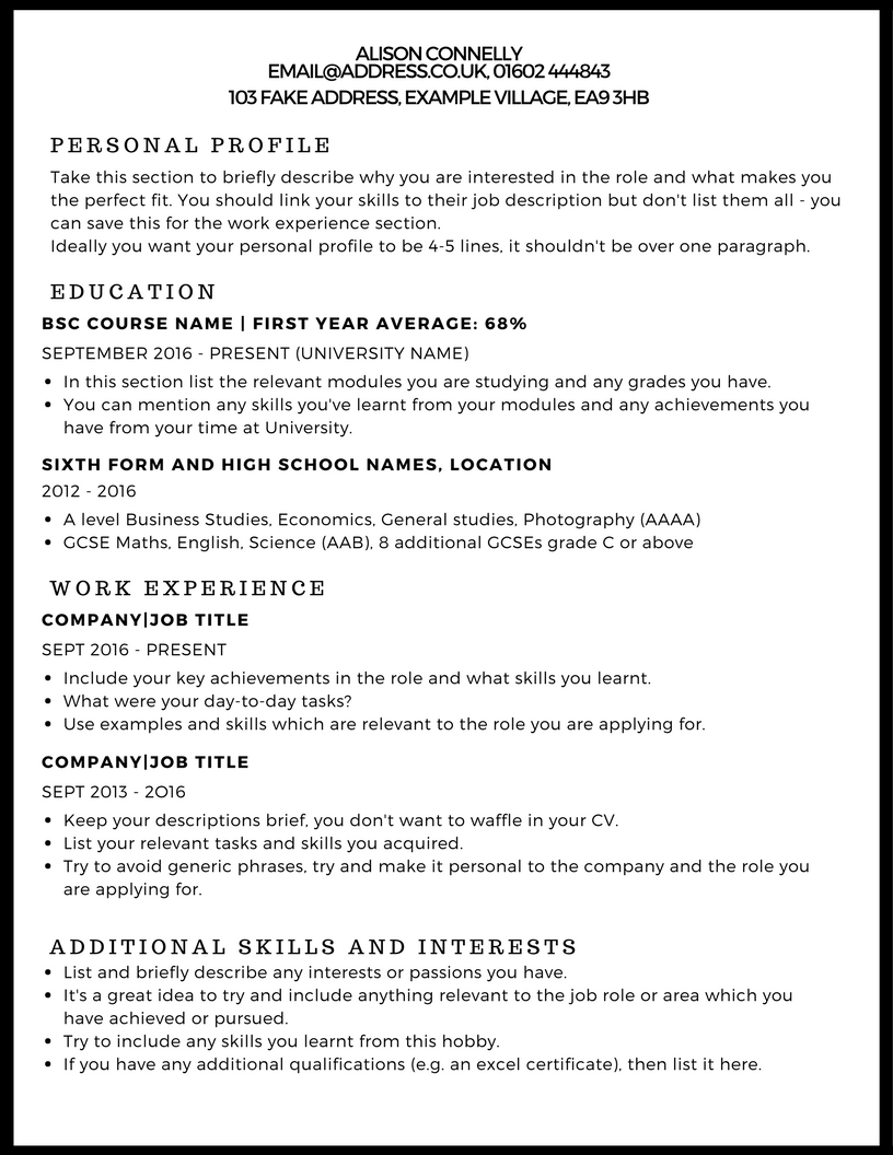 Interests To Put On A Resume Examples Cv Example Studentjob Uk