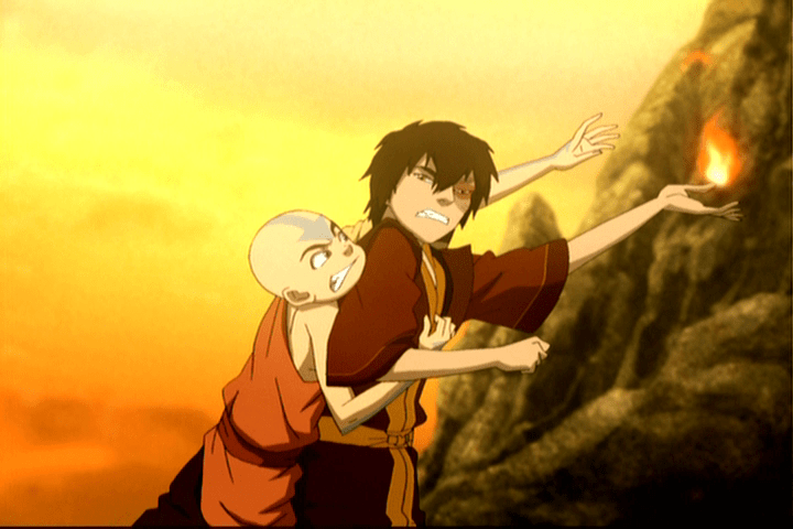 Aang and Zuko getting intimate.