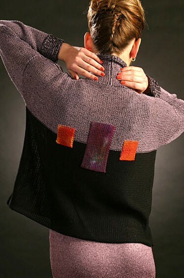 Machine Knit jacket with dyed inset panels