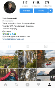 example of a photography profile on Instagram