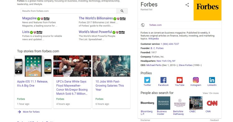 screenshot of a related search