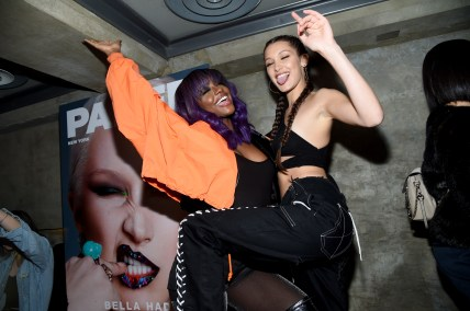 Mandatory Credit: Photo by Clint Spaulding/WWD/REX/Shutterstock (7582068aw) Justine Skye, Bella Hadid Paper Magazine and Tidal Present: The Outspoken Issue with Bella Hadid, New York, USA - 16 Dec 2016