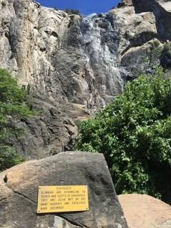 Yosemite warning re dangerous rocks approaching Bridal Veil Falls waterfall
