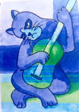 """The Blue Period"" Picasso cat watercolor"