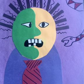 Picasso monster- construction paper cubism