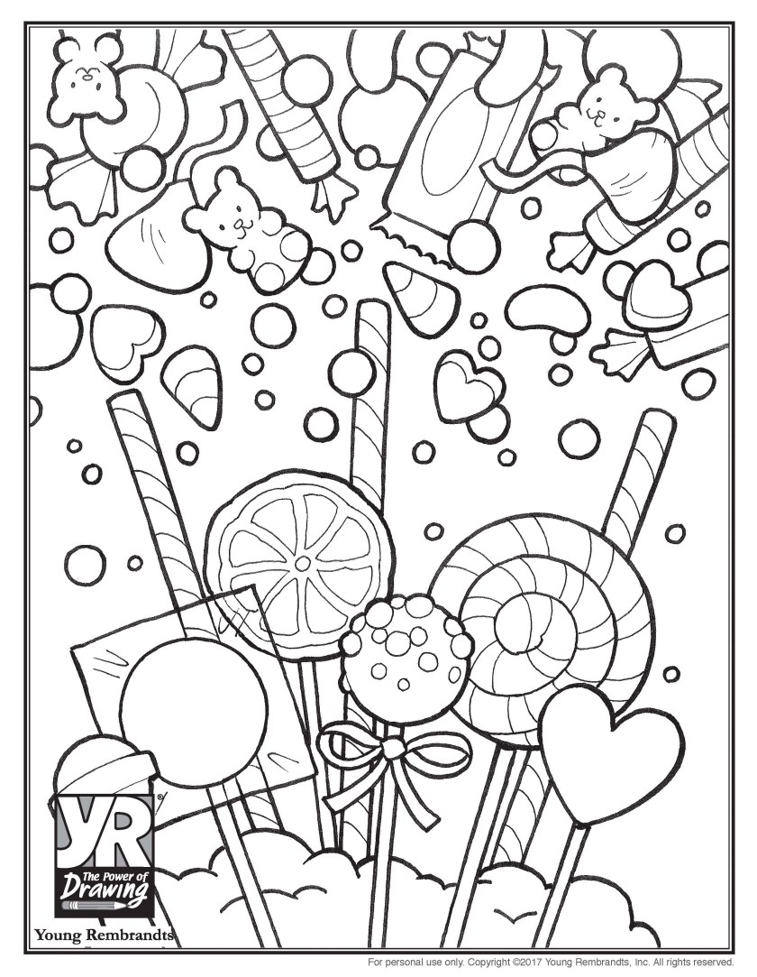 candy coloring page  young rembrandts shop