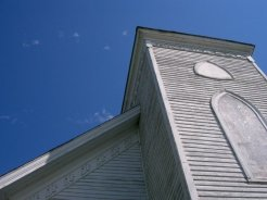 Steeple of church and detailed trim