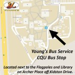 Where is the Young's Bus Stop located inside the CQU North side Campus?