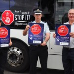 "Video interview at launch of naming ""Know it, name it, stop it"" bus"