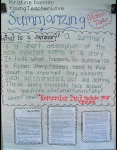 Summarizing anchor chart young teacher love by kristine nannini also fiction texts simplified rh youngteacherlove